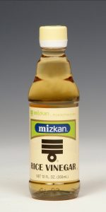Rice VinegarAvailable in 12 and 24 oz. bottles.Naturally brewed from 100% rice. Its rich and mild flavor will add a nice accent to your meal. Use Rice Vinegar for sushi, marinades, salad dressing or any other vinegar usage.  Rice Vinegar is all natural with no calories, no fat and no sodium.