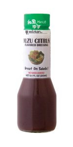 Yuzu Citrus Flavored Dressing Available in 8.4 oz. bottles. Vinegar & oil-based salad dressing seasoned with Yuzu citrus juice and soy sauce. Yuzu is a unique Japanese citrus fruit grown only in East Asia. Great on any salad.