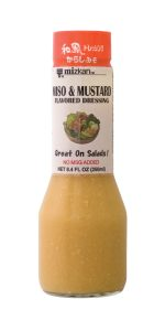 Miso & Mustard Flavored Dressing Available in 8.4 oz. bottles. Vinegar & oil-based salad dressing seasoned with white miso and mustard seeds. Great on any salad.