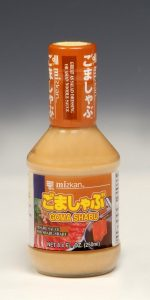 """Sesame Goma Shabu Sauce  Available in 8.4 oz. bottles. This sesame based sauce is used in the traditional Japanese meal """"Shabu Shabu"""" which is a pot dish for thinly sliced beef and vegetables. Sesame Goma Shabu Sauce is also great as a salad dressing or Asian noodle sauce."""